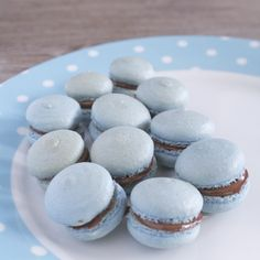 Blue French Macarons with Nutella filling! YUMMMM!