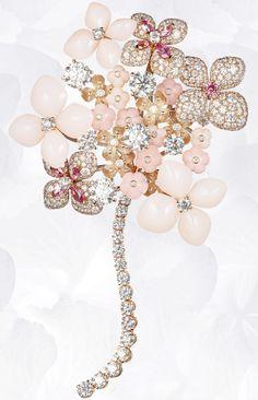 Brooch in pink gold, pink & angel-skin opal, pink tourmalines, pink sapphire, diamonds