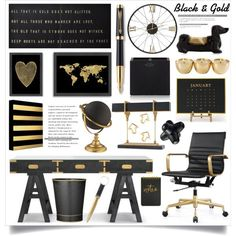 Black & Gold Office Decor by hmb213 on Polyvore featuring interior, interiors, interior design, casa, home decor, interior decorating, Sugarboo Designs, Americanflat, Cooper Classics and Smythson