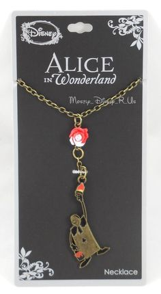 New Disney Alice In Wonderland Painting The Roses Red Charm Pendant Necklace NWT #Disney #Pendant