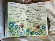 Jenny's Sketchbook: I love the way she starts her pages for a week in advance. Will bring home my date stamp from the office that never gets used any more!!