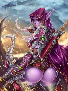 For the Horde! World Of Warcraft Characters, Fantasy Characters, Fantasy Concept Art, Fantasy Artwork, Sylvanas Windrunner, Monster Girl Encyclopedia, For The Horde, Elf Art, Warcraft Art