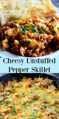 Cheesy Unstuffed Pepper Skillet - Stuffed Peppers deconstructed into a simple skillet dinner. Cheesy, tomatoey peppers and rice with spices all cooked in a skillet makes for a quick and easy meal. This one is perfect for family dinner any d Ground Beef Recipes For Dinner, Ground Turkey Recipes, Easy Dinner Recipes, Easy Meals, Simple Meals For Dinner, Easy Sunday Dinner, Quick Family Dinners, Healthy Ground Turkey, Diabetic Recipes For Dinner