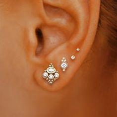 Quadruple earlobe piercing with diamond and 18k white gold Tash-threaded studs - Yelp