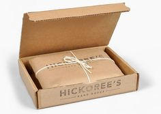 hickoree's hard goods / love the packaging Clever Packaging, Shirt Packaging, Paper Packaging, Pretty Packaging, Jewelry Packaging, Brand Packaging, Coffee Packaging, Packaging Ideas, Kraft Box Packaging