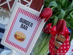 Memorial Day BBQ Party Burger Bar Sign Memorial Day Backyard BBQ Party