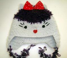 Caculita crosetata cu fundita rosie Winter Hats, Fashion, Moda, Fashion Styles, Fashion Illustrations