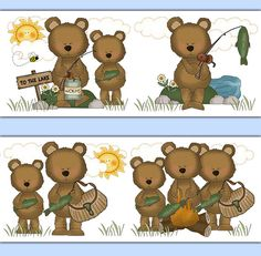 Fishing Teddy Bear wallpaper border wall decals for baby boy outdoor fishing nursery or childrens hunting bedroom decor. Father and Son family fishing together. This would make a beautiful and unique wallpaper border. Use as wall border or wall decals. Add matching items. ♥ Please read carefully. There are 2 different border heights and 2 different sticker papers to choose from:  ***********************************************  ** White Sticker Paper **  This paper has a white background and…
