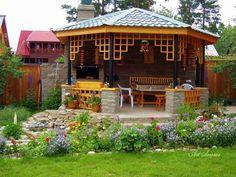 awesome Landscape and garden sprinkler system Pergola, Gazebo Roof, Garden Pool, Shade Garden, Backyard Sitting Areas, Garden Sprinklers, Backyard Cottage, Outdoor Spaces, Outdoor Decor