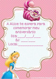 Alice In Wonderland Invitations, Wonderland Party, Classroom Borders, Walt Disney, Party Printables, Birthday Party Invitations, Princess Peach, Fairy Tales, Birthdays