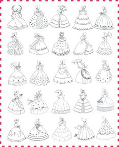 Candlewick Crinoline Ladies - this is the quilt I always wished for from Immanuel Baptist Church ladies' quilting group when I would marry. Hand Embroidery Designs, Vintage Embroidery, Embroidery Applique, Cross Stitch Embroidery, Machine Embroidery, Candlewicking Patterns, Applique Patterns, Quilt Patterns, Bonnet Pattern