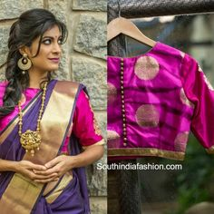 Contemporary Festive Blouses and Sarees by 'House Of Blouse' – South India Fashion Pink Saree Blouse, Pattu Saree Blouse Designs, Purple Saree, Simple Blouse Designs, Blouse Neck Designs, Designer Blouses Online, Blouse Designs Catalogue, House Of Blouse, Sari Design