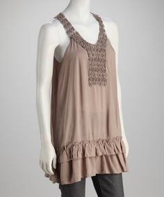 Take a look at this Taupe Yoke Tank by Simply Irresistible on #zulily today!