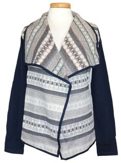 NEW Lucky Brand Womens Jacket Shawl Top Woven Jacquard Wrap Navy Blue Sz M $119 #LuckyBrand #KnitTop #Casual