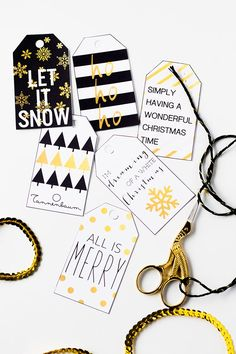 Print these monochromatic and gold tags to modernize your gifts this season | Squirrelly Minds