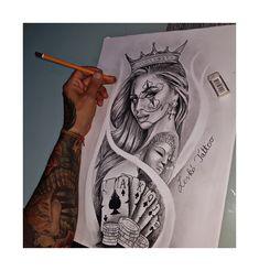 Chicano art - My list of best tattoo models Chicano Tattoos Sleeve, Arm Sleeve Tattoos, Tattoo Sleeve Designs, Leg Tattoos, Arm Tattoo, Body Art Tattoos, Tattos, Gangsta Tattoos, Dope Tattoos