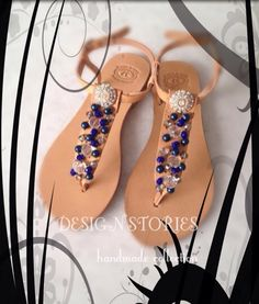 """""""Blue Lagoon"""" Handmade leather sandals Summer Collection 2015 Design Stories Handmade Collection"""