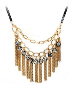 Luxury Crystals Chain Necklace For Women With Tassel