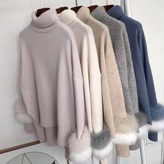 Autumn and winter turtleneck flare fox real fur high quality knitting elastic pullover loose sweater 145.00 CAD Loose Sweater, Long Sleeve Sweater, Jumper Outfit, Striped Dress, Knit Dress, Sweaters For Women, Turtle Neck, Fur, Pullover