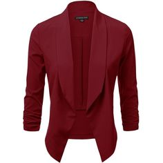 JJ Perfection Women's Lightweight Thin Chiffon Ruched Sleeve... ($18) ❤ liked on Polyvore featuring outerwear, jackets, blazers, blazer, blazer jacket, open front jacket, chiffon jacket, chiffon blazer and red blazer