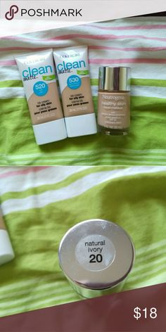 🎉Almost New Foundation Lot 2 Covergirl Clean Matte BB Cream in 520 Light & 530 Light/Medium and Neutrogena Healthy Skin Liquid Makeup in 20 Natural Ivory.  To be sold together.  Everything was purchased in past few months and more than 80% of product left.  Bundle and save:) Makeup Foundation
