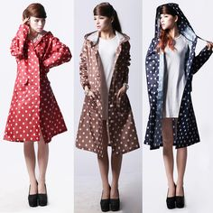 $19.54 - Cool Waterproof Raincoat Women Dot Fashion Long Ladies Raincoat Over Knee With Hood And Packing Pouch Pocket Poncho Coat Rainwear - Buy it Now!