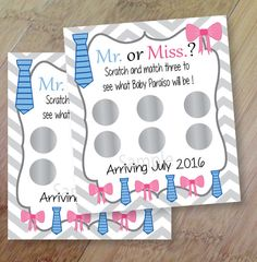 Gender Reveal, Set of 12 Scratch off Cards for a Baby Shower or Gender Reveal Party, Tu-tus or Ties Party, Mister or Miss Gender Reveal by PenguinPartyPress on Etsy https://www.etsy.com/listing/268420145/gender-reveal-set-of-12-scratch-off