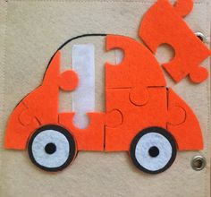 Quiet book page. Puzzle little car :)