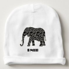 Black and White Abstract Swirl Elephant Baby Beanie.  Personalize with your own text.