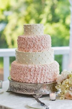 18 Gorgeous Textured Wedding Cakes ❤️ Textured wedding cakes – with ruffles, flowers, lace or pleats are in trend this year. See more: http://www.weddingforward.com/textured-wedding-cakes/ #weddings #cakes