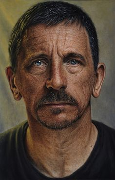 """Self 1"" - Vic Harris, retired psychiatrist with no art training {contemporary realism artist male head bearded man face portrait painting} vicharris.co.uk"