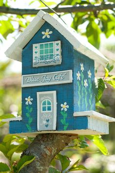 Decorative bird house podge on decoative details