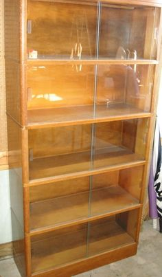 1950s Barristers Bookcase Sliding Glass Doors 5 Section