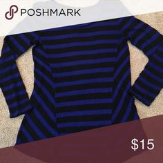 Lightweight high low sweater This is a size M knit, lightweight, 3/4 length sleeves sweater in royal blue and black. It's transparent and looks awesome with a black or blue cami underneath! Apt. 9 Sweaters Crew & Scoop Necks