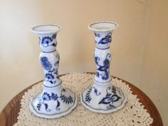 Vintage Pair of  Lovely Blue Danube Onion Candle Holders