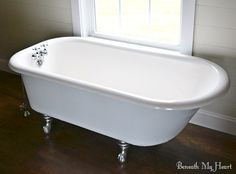 How to Refinish an Antique Claw Foot Tub {Check out my New Tub!} | Beneath My Heart