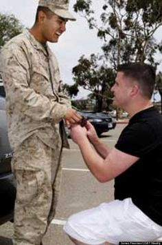 A Gay Military Proposal When Navy veteran, Cory Huston, dropped to one knee and asked his boyfriend, U.S. Marine Avarice Guerrero, to marry...