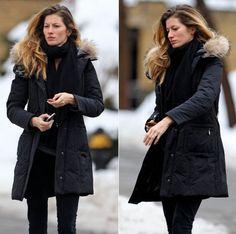 Ladies Black Coat With Hood