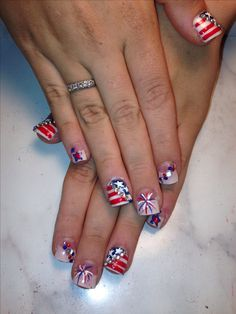 4th of July nails. Flag nails. Stars and Stripes. Red white and blue. Nail art nail ideas.