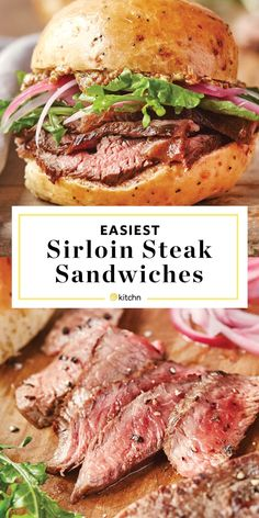 Sirloin Steak Sandwiches We weren't even ready for how good this was! Steak Burger Recipe, Sirloin Steak Recipes, Steak Sandwiches, Grilled Steak Recipes, Sirloin Steaks, Meat Recipes, Dinner Recipes, Cooking Recipes, Snacks
