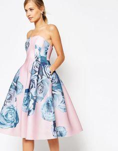 8bcade53c1 ASOS SALON Rose Printed Mesh Bandeau Midi Party Dress UK 10 - EU 38- US 6