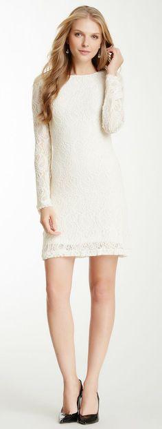 Long sleeved lace short dress