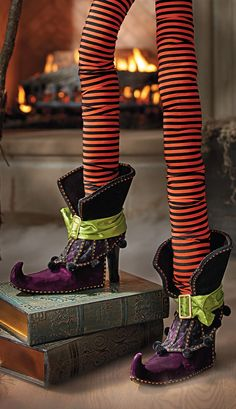 Get creative with these amusing Decorative Witch Legs by hanging them in the fireplace, or emerging from under a chest.