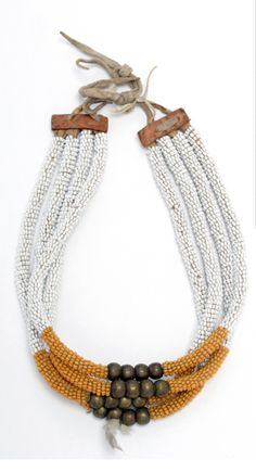 Northern Plains |  T'suu T'ina or Nehiyaw Choker necklace | Glass beads, brass beads, cotton cloth, leather, hide thongs, cotton thread, fur | ca. 1900 - 1910.