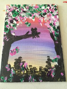 Spring sunrise painted postcard