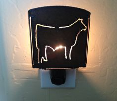 Rustic Rusty Rusted Recycled Metal STEER cow nightlight night light