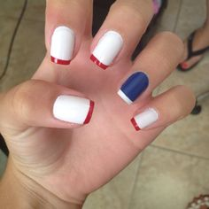 4th of July spirit! - what if I did red nails with a white tip... and one blue nail with a white tip?