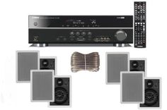 "Yamaha 3D-Ready 5.1-Channel 500 Watts Digital Home Theater Audio/Video Receiver with 1080p-compatible HDMI repeater & Upgraded CINEMA DSP + Yamaha Custom Easy-to-install Natural Sound In-Wall Flush Mount 3-Way 120 watt Speakers (Set of 4) with 1"" Silk Soft Swivel Dome Tweeter, 2"" Swivel Midrange & 6.5"" Cone Woofer + 100ft 16 AWG Speaker Wire by Yamaha. $499.95. Home Theater Receiver Advanced FeaturesSCENE buttons with direct power on quick and simple to useHDMI (V.1.4 with ..."