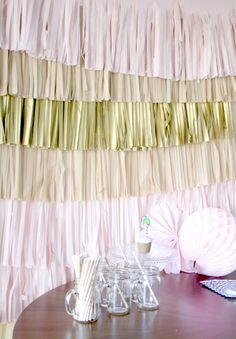 Wedding Backdrop Fringe Garland Photography Background by pomtree