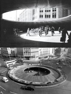 Sheffield hole in the road. I remember going to town as a little girl with my Mum and Dad walking hand in hand through this underground circle, checking out the little aquarium that was down there, going through to C & A and then having a Wimpy for tea (before McDonald's came to England)  The 'hole' was demolished in 1994. #socialsheffield #sheffield